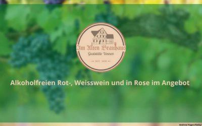 Alkoholfreier Rot- und Weisswein und Rose im Alten Brauhaus